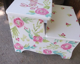 Cherry, Cherries, Roses, Personalized, Step stools Kids, Bathroom Stool, Girls step stool, Pink Red Green, Benches for kids,