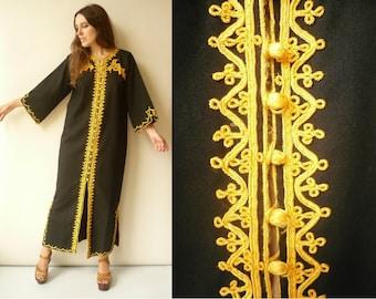 1970's Vintage Moroccan Embroidered Maxi Kaftan Dress Duster Jacket