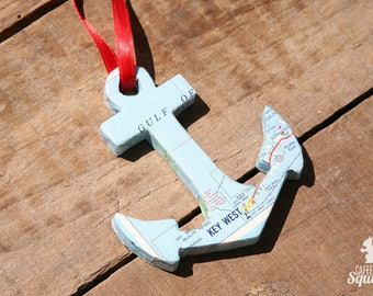 Key West, Florida - Vintage Map Covered Anchor Ornament - FL, Home Decor, East Coast, Christmas, Tree, Map Ornament