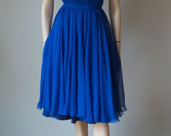 Rare Rosalie Macrini 1950s Silk Chiffon Dinner Dress with Smocked Bodice - Understated Elegance - Easy to Wear and Couture