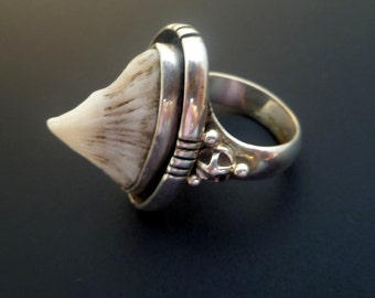 Sterling Silver and Sting Ray Ring - Handmade Sterling Silver and Stingray Spine Ring  - Made to order