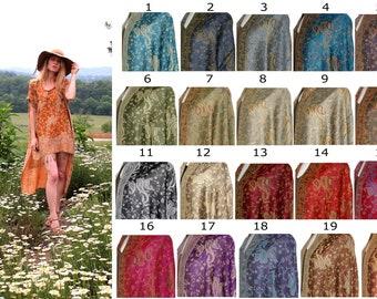 High Low Waterfall Hem Dress Boho Hippie Gypsy Kaftan Caftan with Fringe One Size Fits All Natural Soft Lightweight Silk & Cashmere