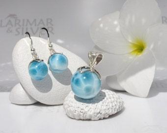 AAA Larimar set by Larimarandsilver, Caribbean Carnival 7 - ocean blue Larimar balls, turtleback blue pearl handmade Larimar pendant earring