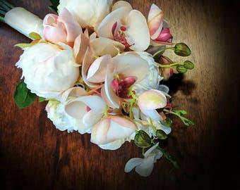 Orchid Bouquet - Orchids Tulips Peony Buds - Wedding Bouquet - Wedding Flowers - Peony Bouquet - Tropical Bouquet - Tulip Bouquet