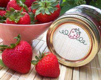 Embroidery Strawberry canning jar labels, round mason jar stickers for fruit preservation, strawberry jam jelly preserves jar labels
