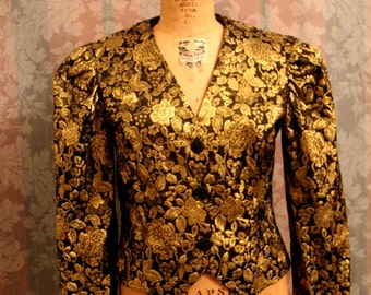 Sz S Gold and Black Vintage Formal Blouse