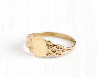 Sale - Vintage Art Deco 10k Rosy Yellow Gold Blank Signet Ring - Art Deco Size 1/2 Children's Baby Midi Fine Pinky Ostby & Barton OB Jewelry