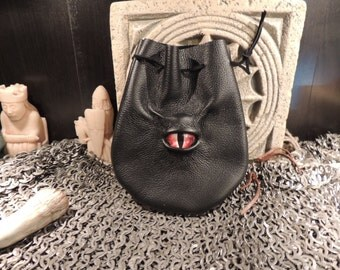 Dragon eye dice bag (Black  leather with Red Eye)----New Style-----