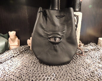 Medium bag---Black  leather with Gold Eye