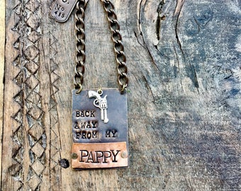 Keep Your Hands Off My Pappy Bottle Tag. Back Away From My Bourbon ®  The Bourbon Bottle Tag Collection. Brass, Copper Metal Liquor Tags