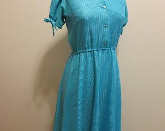 Dress blue teal shirtdress check plaid BOW darling sheer picnic 1970s vintage S