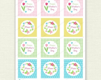 Mother's Day Spring Flowers cupcake toppers, printable party circles, Mom, tags - Digital Instant Download CT032