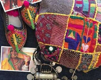 Vintage handmade Banjara Bag,Ethnic Embroidered Fabric Tote Bag,Tribal Bohemian Purse,Multi color embellished Banjara bag model -E