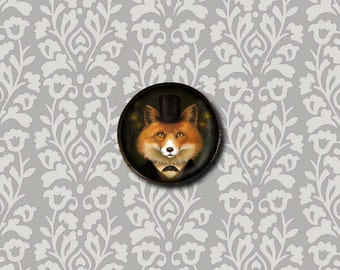 Fox Brooch Round - Fox Portrait Pin - Spiritualist Fox - Fox Lover's Gift - Halloween Gift - Stocking Stuffer - Secret Santa Gift