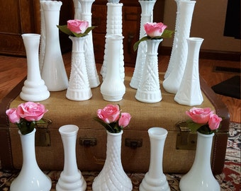 20 White Milk Glass Bud Vases - Wedding Decor - Table Centerpieces - Oak Hill Vintage - Lot 10
