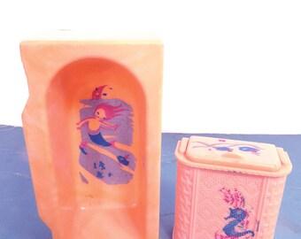 Vintage RENWAL Stenciled Mermaid Bathtub & Seahorse Hamper, Bathroom Doll Furniture, 1950s