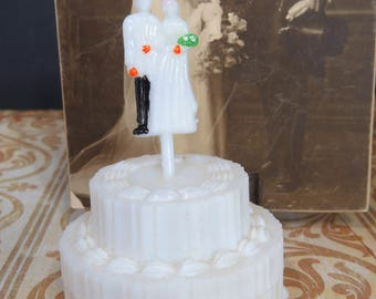 Vintage Bride & Groom Cake Topper Plastic Party Favors, Wedding, Bridal Showers, Mints, Nut Cups, NOS, 9 Available