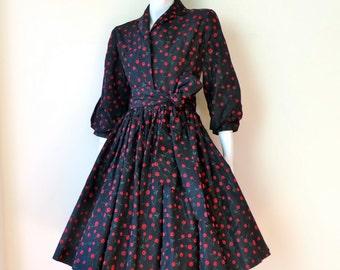 "Vintage 1950's/Cherry Print Black Taffeta Full Skirt Dress/50's Cherry Print Taffeta Swing Dress/Cherry Flocking Print Dress/27"" Waist/Small"