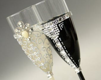 Wedding Glasses, Gatsby Wedding, Gatsby Glasses, Champagne Glasses, hand painted, set of 2