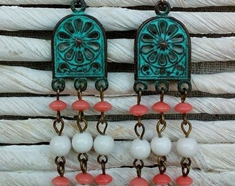 Green patina copper earrings with agate and coral beads