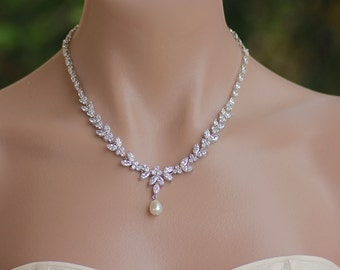 Crystal Necklace, Pearl Drop Necklace, Crystal Bridal Necklace,  Wedding Necklace,  DENISE