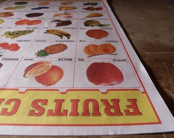 FRUITS Retro Indian School Poster - FRUIT Educational print from INDIA