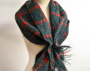 1950s Dark green & red check mohair scarf / 50s checked wool winter fringed scarf