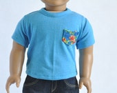 American BOY Doll Clothes - Turquoise, Contrast Pocket Tee, T-shirt, Top, 18 inch Doll, AG Doll