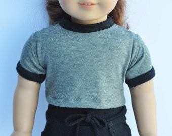 18 inch Doll Clothes - Heather Olive, Crop Ringer Tee, T-Shirt, Top, AG Doll, Modern, Trendy