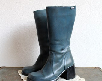 VTG 1990s Teal Blue Leather Chunky Heel Boots by Mustang | Made in Spain | Womens Size