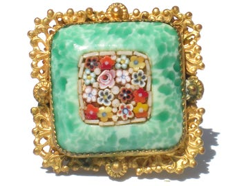 Mosaic and Imitation Peking Glass Brooch Pin with Ornate Gold Tone Frame - Vintage Jewelry