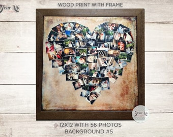 WOOD PRINT Heart Collage, Five Year Anniversary Gift, Wedding Day Display, Personalized Photo Collage, Valentines Day Wood Print