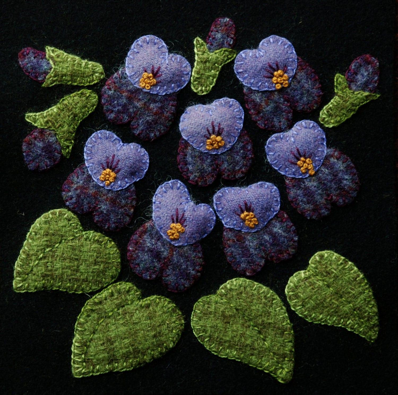 Wool Applique Bom Pattern Amp Or Kit Violets 6x6
