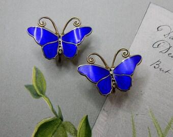 NORWAY Sterling Silver & Blue Enamel Butterfly Earrings Screw Back   NEC7