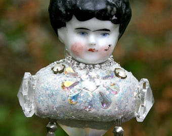 Altered Art Ornament Frozen Charlotte Crystal Jeweled Rhinestones Assemblage Chime Suncatcher Victorian Doll Original Art Home Decor