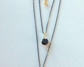 Black necklace, Long multistrand necklace, Long Pendant necklace, black and gold necklace, triple strand necklace, layered modern necklace,