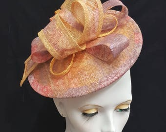Golden yellow lilac rose pink two tone printed sinamay saucer hatinator fascinator headband fixing wedding races hat
