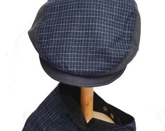 Toddler baby boy flat cap hat driving cap in blue check plaid with matching bib bandana fit  approx 12-18 months