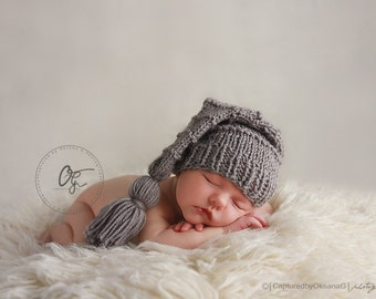 Newborn Baby Stocking Hat,  Baby Longtale Hat, Grey Stocking Hat, Photo Props, Baby Stocking Hat, Grey Tassel. Gray Longtale Hat. Kids  .