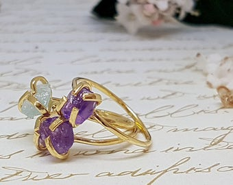 Raw Amethyst Ring, Raw Gemstone Ring, Amethyst Jewelry, February Birthstone Ring, Raw Crystal Jewelry, Gold Stacking Ring, Boho Jewelry
