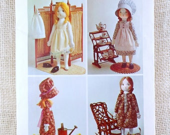 Vintage Holly Hobbie Simplicity 6006 doll pattern sewing rag doll 1970s doll bonnet dress pinafore colonial