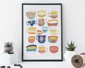 Tea Print, Illustrated Teacups and Bowls, Tea Gift, Kitchen Art, Home Decor - 8 x 11 Print