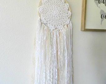 Dream Catcher Wall Hanging - Bohemian Dream Catcher - White Dreamcatcher - Boho Dream Catcher - Lace Dream Catcher - Bohemian Wall Tapestry