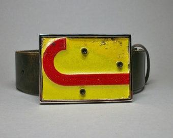 Belt Buckle License Plate Letter J Red on Yellow Unique Handmade Repurposed Gift for Men Women