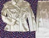 1940's white Ivory Satin dress suit set 40's cream button up jacket skirt matching wedding suit / church / pinup / matching caplet jacket S