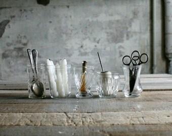 5 Vintage Jelly Jar Glasses / Candle Holders - Set 1