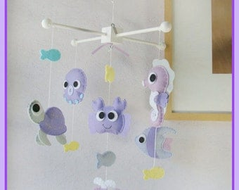 Baby Mobile, Under the Sea Mobile, Sea Animals Mobile, Crab, Octopus, Seahorse, Turtle, Lavender Berry Light Purple