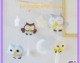 Owl Mobile, Baby Mobile, Neutral Mobile, Kids Decor, Aqua and Grey Nursery, Custom Mobile