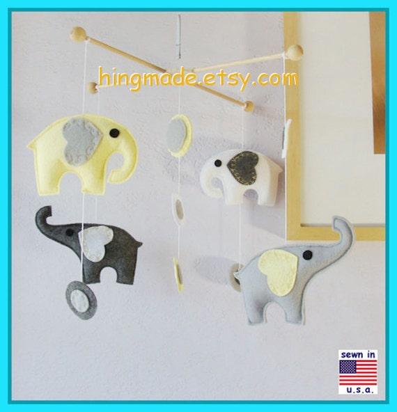 Baby Mobile, Baby Crib Mobile, Nursery Decor, Elephant Mobile, Yellow Elephant Mobile, Polka Dot Mobile, Match Bedding Mobile