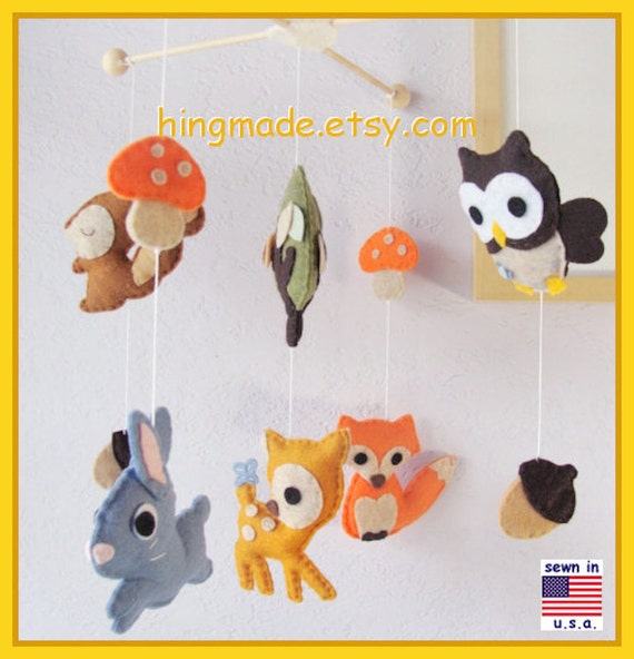 Baby Mobile Woodland Friends Mobile Animals Mobile By Hingmade